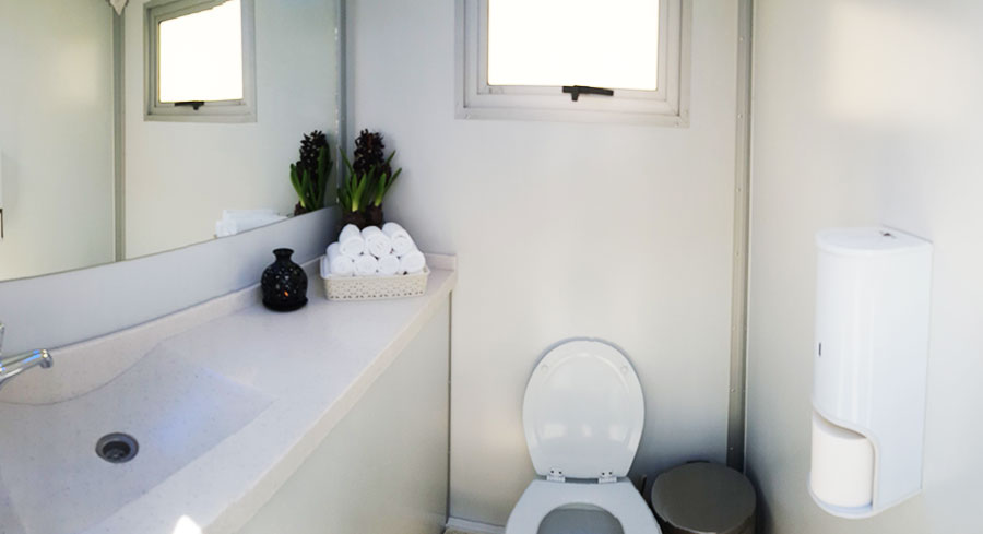 self contained portable toilet rental